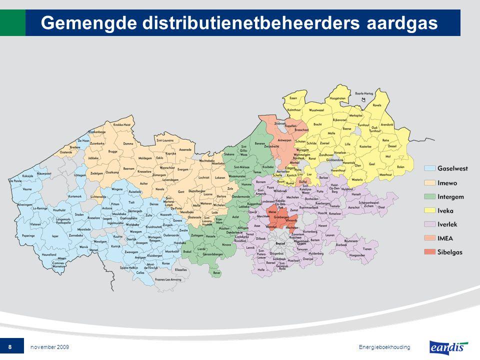 8 Energieboekhouding november 2009 Gemengde distributienetbeheerders aardgas