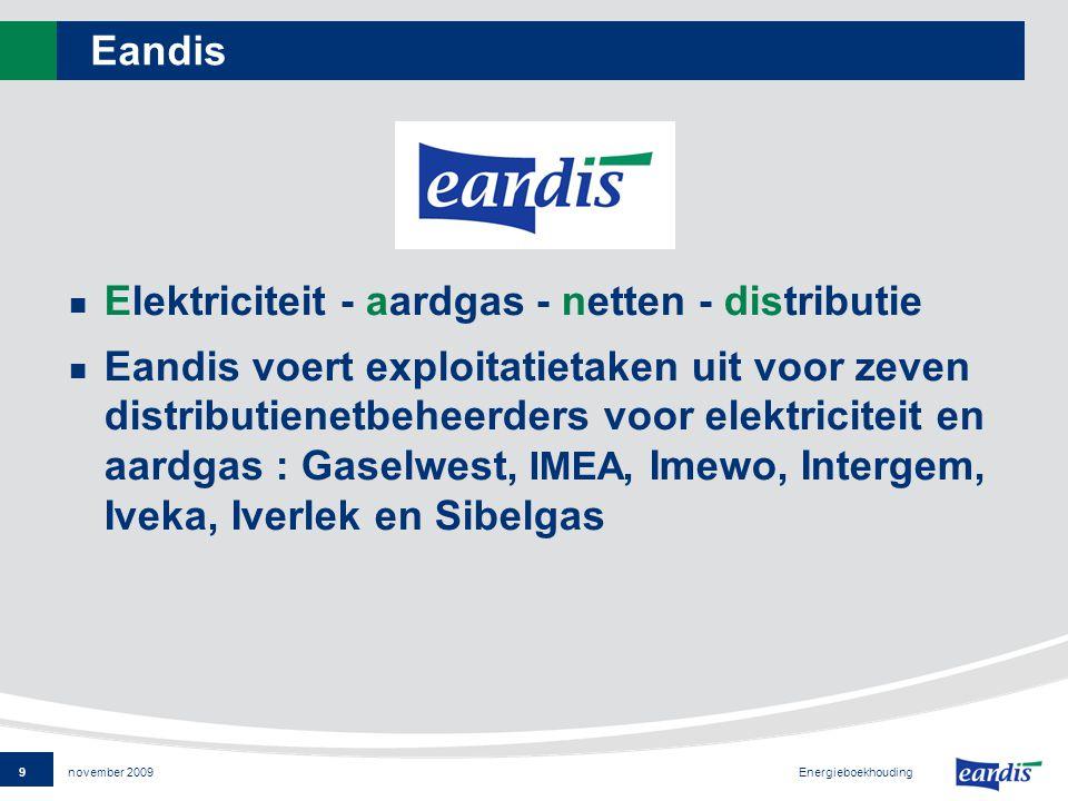 9 Energieboekhouding november 2009 Eandis Elektriciteit - aardgas - netten - distributie Eandis voert exploitatietaken uit voor zeven distributienetbeheerders voor elektriciteit en aardgas : Gaselwest, IMEA, Imewo, Intergem, Iveka, Iverlek en Sibelgas