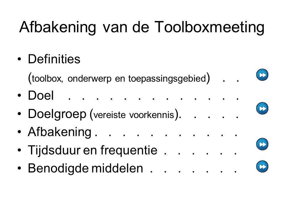 Afbakening van de Toolboxmeeting Definities ( toolbox, onderwerp en toepassingsgebied ).. Doel............. Doelgroep ( vereiste voorkennis )..... Afb