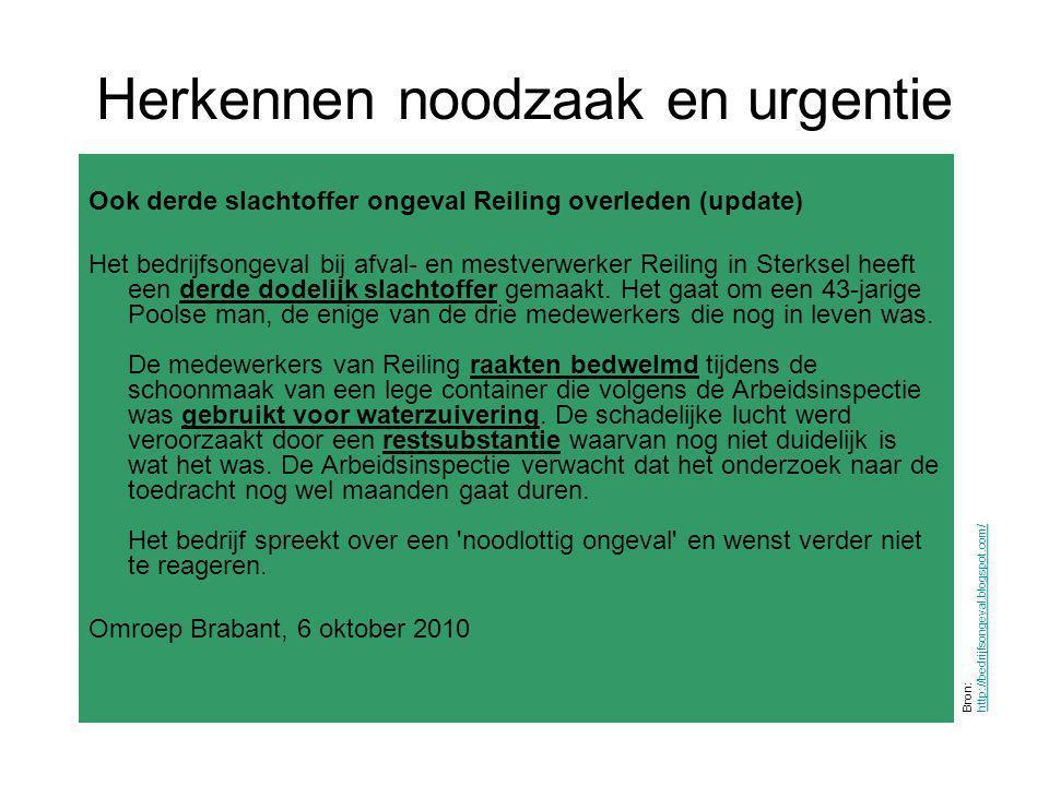 Herkennen noodzaak en urgentie Bron: http://bedrijfsongeval.blogspot.com/ http://bedrijfsongeval.blogspot.com/ Ook derde slachtoffer ongeval Reiling o