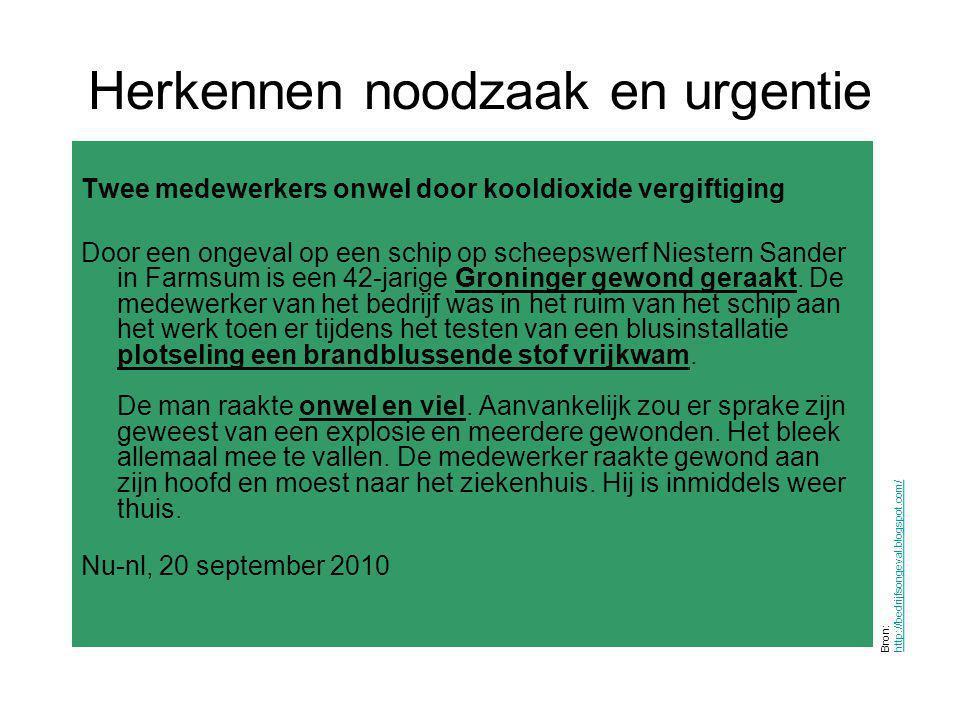 Herkennen noodzaak en urgentie Bron: http://bedrijfsongeval.blogspot.com/ http://bedrijfsongeval.blogspot.com/ Twee medewerkers onwel door kooldioxide