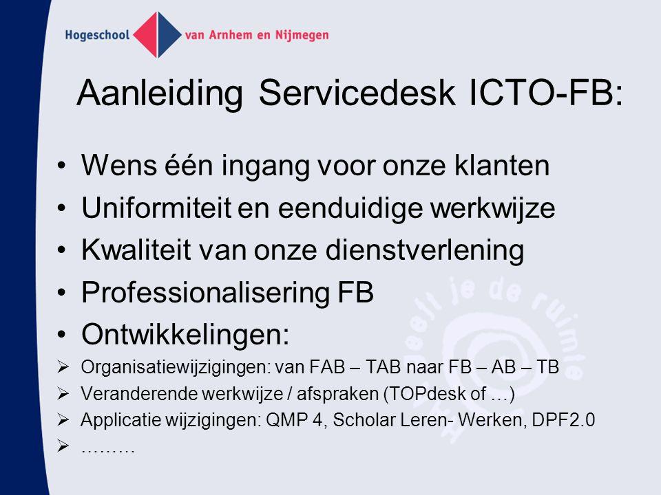 Aanleiding Servicedesk ICTO-FB: Wens één ingang voor onze klanten Uniformiteit en eenduidige werkwijze Kwaliteit van onze dienstverlening Professional