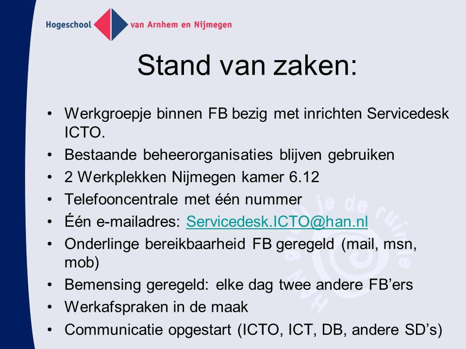 Stand van zaken: Werkgroepje binnen FB bezig met inrichten Servicedesk ICTO. Bestaande beheerorganisaties blijven gebruiken 2 Werkplekken Nijmegen kam