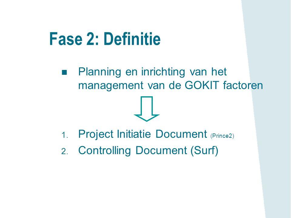 Fase 2: Definitie n Planning en inrichting van het management van de GOKIT factoren 1. Project Initiatie Document (Prince2) 2. Controlling Document (S