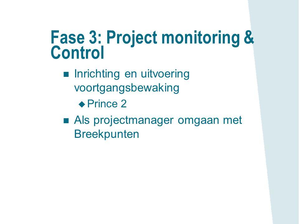 Fase 3: Project monitoring & Control n Inrichting en uitvoering voortgangsbewaking u Prince 2 n Als projectmanager omgaan met Breekpunten