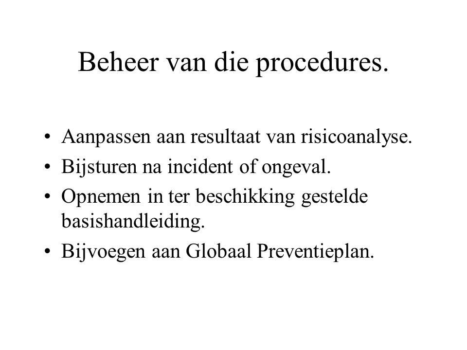 Beheer van die procedures. Aanpassen aan resultaat van risicoanalyse. Bijsturen na incident of ongeval. Opnemen in ter beschikking gestelde basishandl