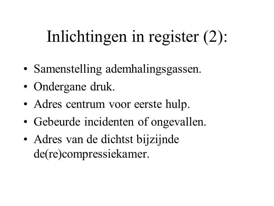 Inlichtingen in register (2): Samenstelling ademhalingsgassen. Ondergane druk. Adres centrum voor eerste hulp. Gebeurde incidenten of ongevallen. Adre
