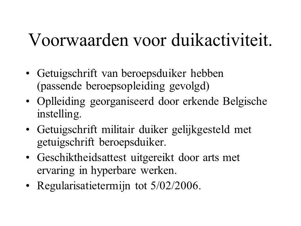 Voorwaarden voor duikactiviteit. Getuigschrift van beroepsduiker hebben (passende beroepsopleiding gevolgd) Oplleiding georganiseerd door erkende Belg