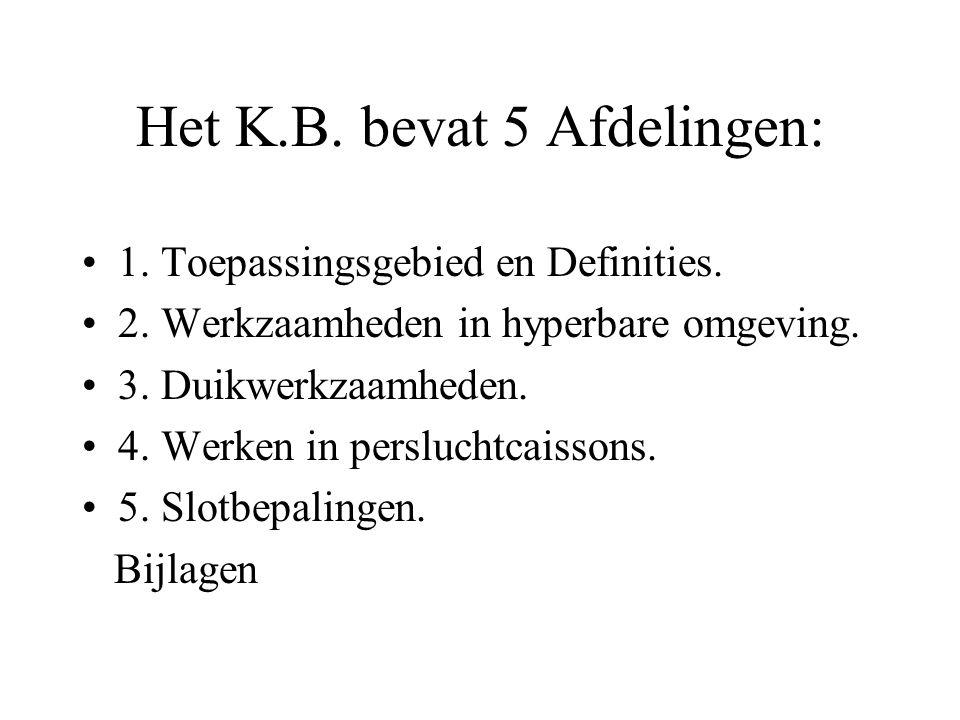 Het K.B. bevat 5 Afdelingen: 1. Toepassingsgebied en Definities. 2. Werkzaamheden in hyperbare omgeving. 3. Duikwerkzaamheden. 4. Werken in persluchtc