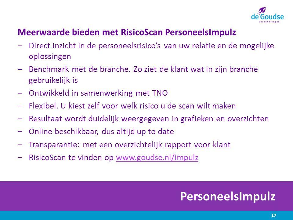 PersoneelsImpulz Meerwaarde bieden met RisicoScan PersoneelsImpulz –Direct inzicht in de personeelsrisico's van uw relatie en de mogelijke oplossingen –Benchmark met de branche.