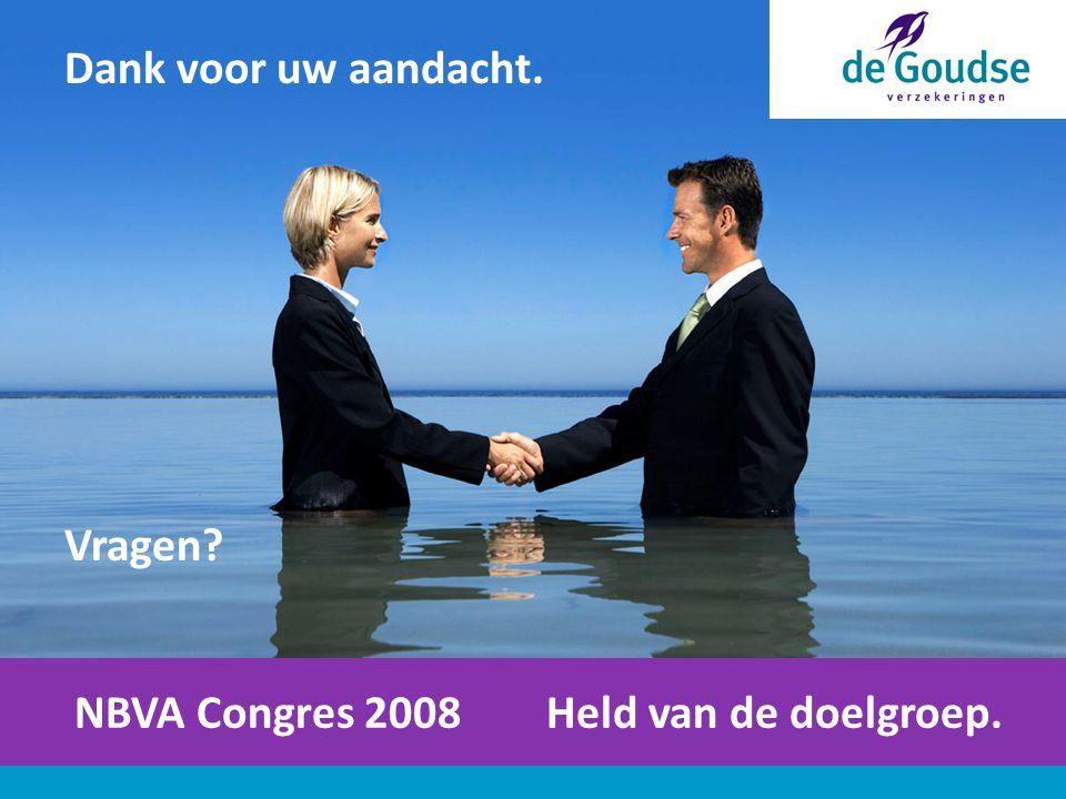 NBVA Congres 2008 Held van de doelgroep. Dank voor uw aandacht. Vragen