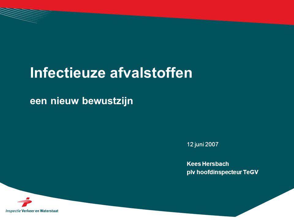 12 juni 2007 een nieuw bewustzijn Infectieuze afvalstoffen Kees Hersbach plv hoofdinspecteur TeGV