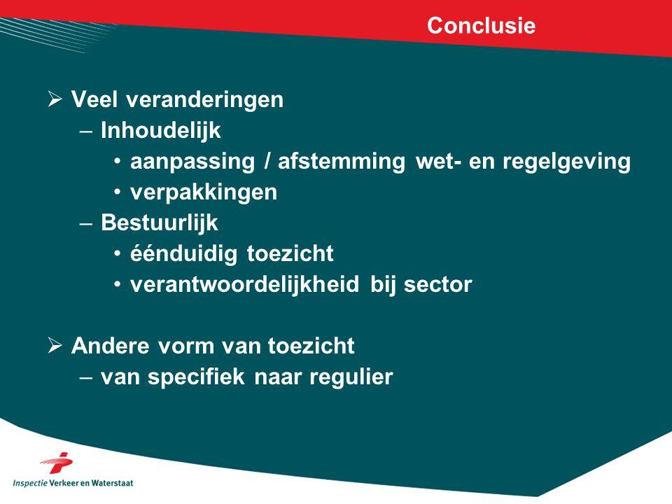 Conclusie  Veel veranderingen –Inhoudelijk aanpassing / afstemming wet- en regelgeving verpakkingen –Bestuurlijk éénduidig toezicht verantwoordelijkh