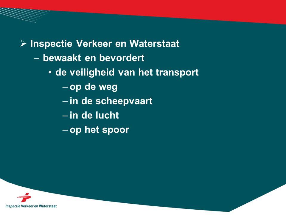  Inspectie Verkeer en Waterstaat –bewaakt en bevordert de veiligheid van het transport –op de weg –in de scheepvaart –in de lucht –op het spoor