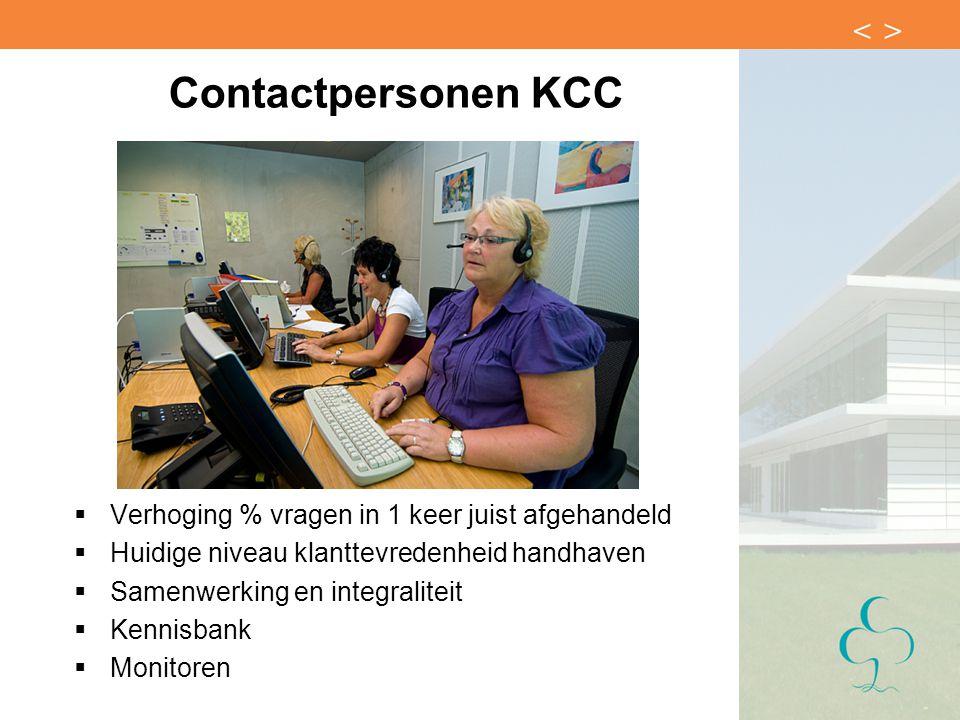 Contactpersonen KCC  Verhoging % vragen in 1 keer juist afgehandeld  Huidige niveau klanttevredenheid handhaven  Samenwerking en integraliteit  Ke