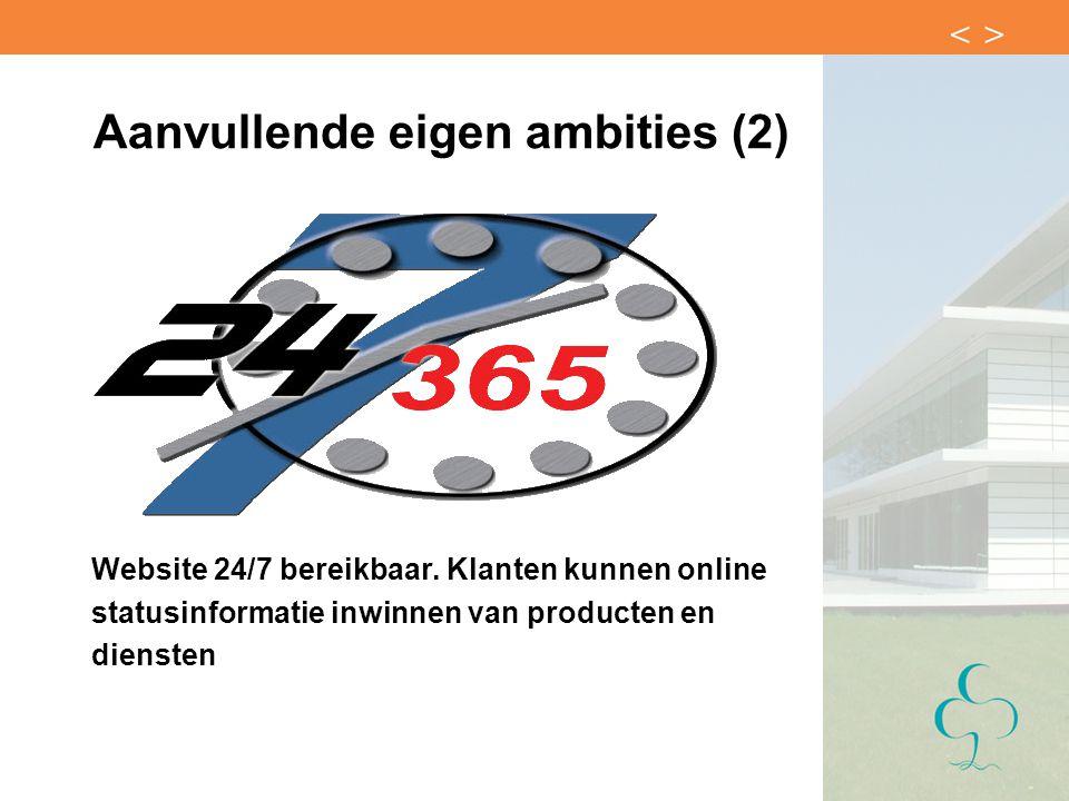 Aanvullende eigen ambities (2) Website 24/7 bereikbaar. Klanten kunnen online statusinformatie inwinnen van producten en diensten