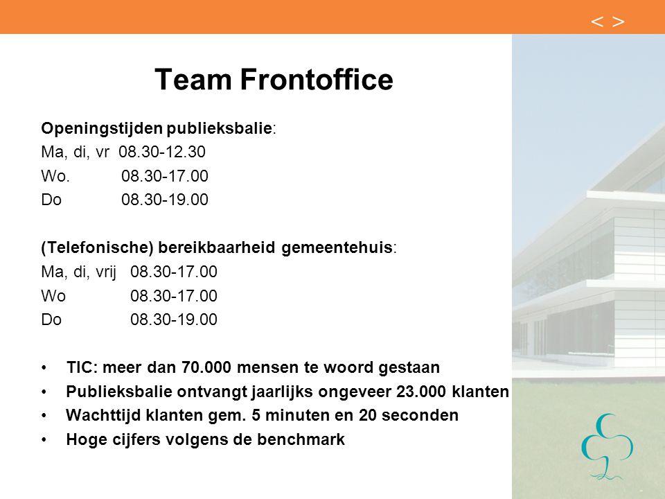 Team Frontoffice Openingstijden publieksbalie: Ma, di, vr 08.30-12.30 Wo. 08.30-17.00 Do 08.30-19.00 (Telefonische) bereikbaarheid gemeentehuis: Ma, d