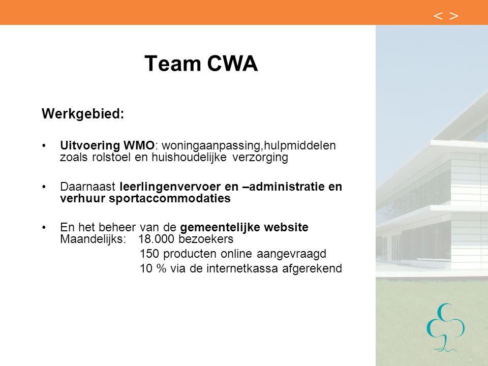 Team CWA Werkgebied: Uitvoering WMO: woningaanpassing,hulpmiddelen zoals rolstoel en huishoudelijke verzorging Daarnaast leerlingenvervoer en –adminis