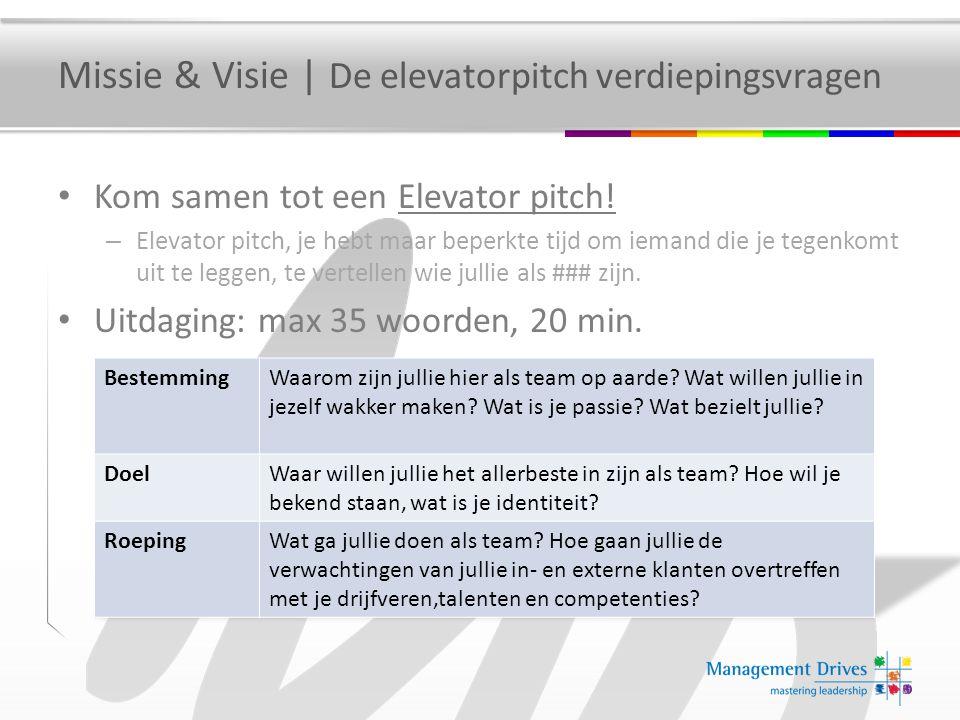 Missie & Visie | De elevatorpitch verdiepingsvragen Kom samen tot een Elevator pitch! – Elevator pitch, je hebt maar beperkte tijd om iemand die je te