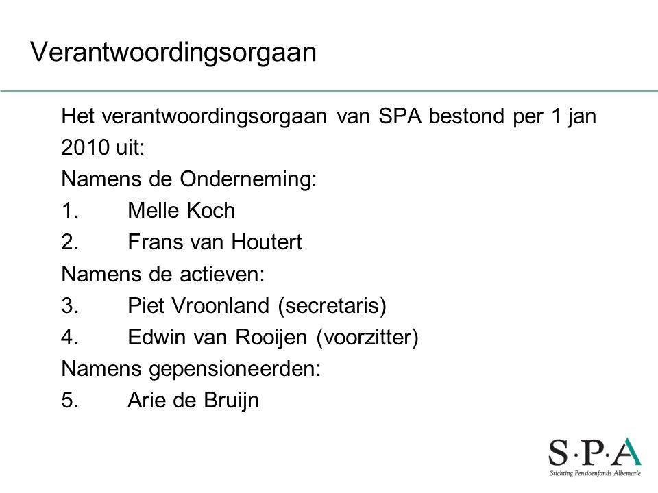 Verantwoordingsorgaan Het verantwoordingsorgaan van SPA bestond per 1 jan 2010 uit: Namens de Onderneming: 1. Melle Koch 2. Frans van Houtert Namens d
