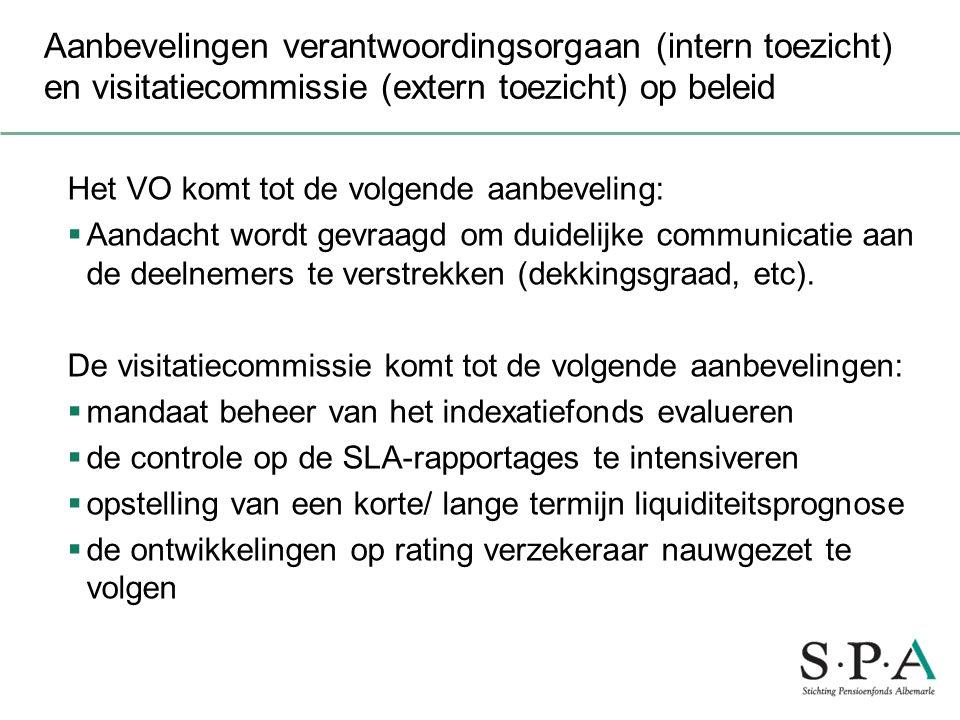 Aanbevelingen verantwoordingsorgaan (intern toezicht) en visitatiecommissie (extern toezicht) op beleid Het VO komt tot de volgende aanbeveling:  Aan