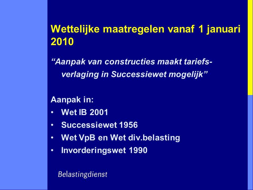"""Wettelijke maatregelen vanaf 1 januari 2010 """"Aanpak van constructies maakt tariefs- verlaging in Successiewet mogelijk"""" Aanpak in: Wet IB 2001 Success"""