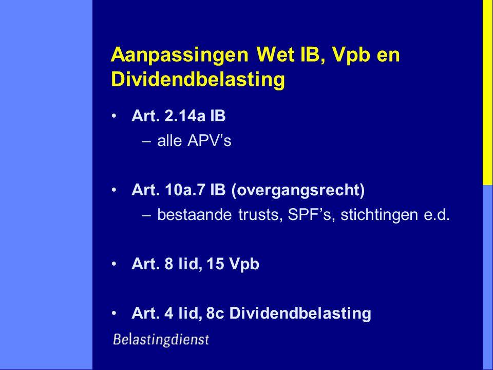 Aanpassingen Wet IB, Vpb en Dividendbelasting Art. 2.14a IB –alle APV's Art. 10a.7 IB (overgangsrecht) –bestaande trusts, SPF's, stichtingen e.d. Art.
