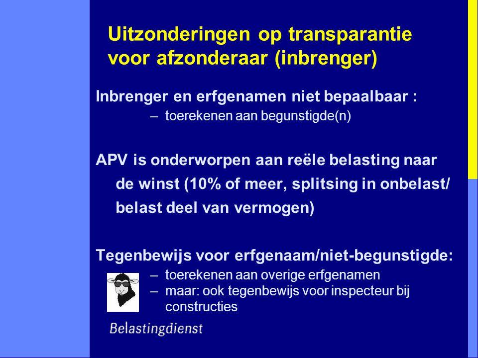 Uitzonderingen op transparantie voor afzonderaar (inbrenger) Inbrenger en erfgenamen niet bepaalbaar : –toerekenen aan begunstigde(n) APV is onderworp