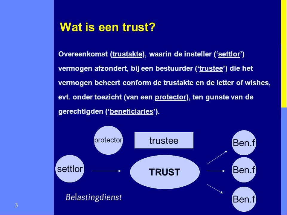 3 Wat is een trust? Overeenkomst (trustakte), waarin de insteller ('settlor') vermogen afzondert, bij een bestuurder ('trustee') die het vermogen behe
