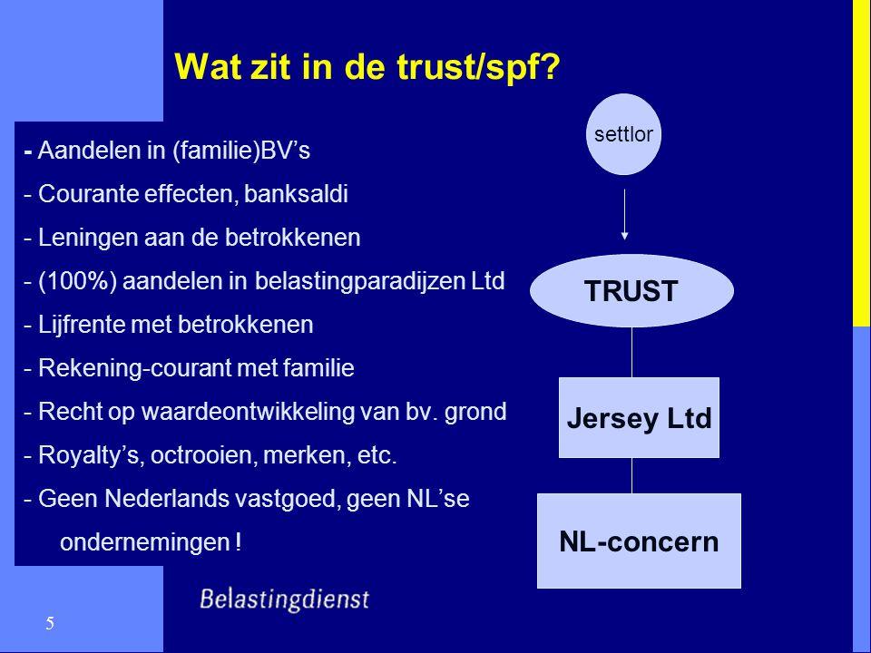 5 Wat zit in de trust/spf? - Aandelen in (familie)BV's - Courante effecten, banksaldi - Leningen aan de betrokkenen - (100%) aandelen in belastingpara