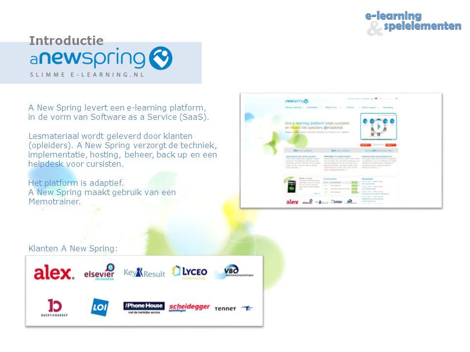 A New Spring levert een e-learning platform, in de vorm van Software as a Service (SaaS).