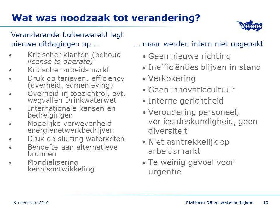 19 november 2010Platform OR'en waterbedrijven13 Wat was noodzaak tot verandering? Kritischer klanten (behoud license to operate) Kritischer arbeidsmar