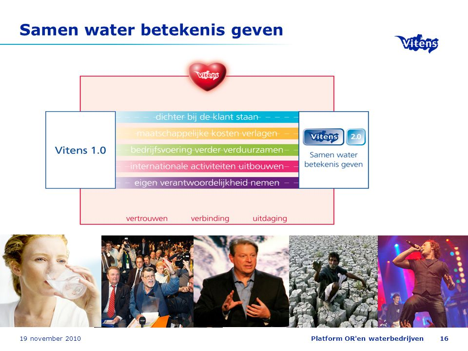 19 november 2010Platform OR'en waterbedrijven16 Samen water betekenis geven