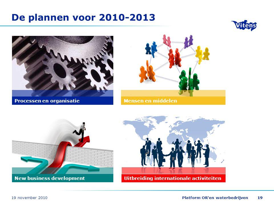 19 november 2010Platform OR'en waterbedrijven19 De plannen voor 2010-2013 Processen en organisatie New business development Uitbreiding internationale