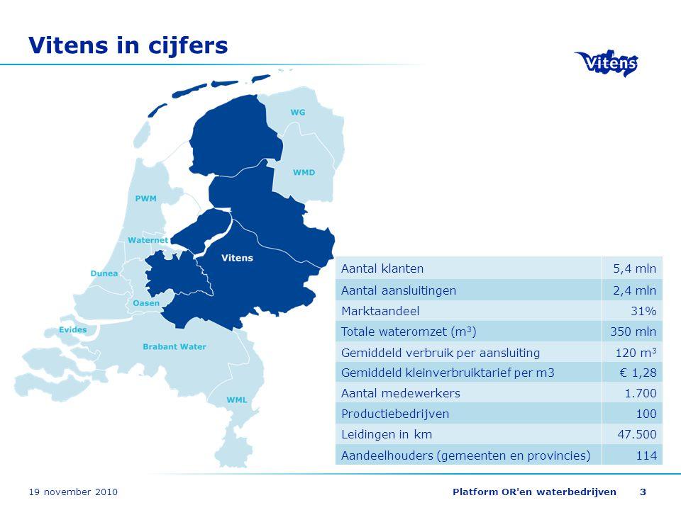 19 november 2010Platform OR'en waterbedrijven33 Vitens in cijfers 47.500 114 100 350 mln Leidingen in km Aandeelhouders (gemeenten en provincies) Prod