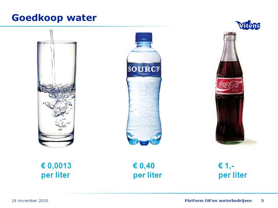 19 november 2010Platform OR en waterbedrijven26 Duurzaamheid: waterverbruik Douchen 41% Douchen 41% Toilet spoelen 29% Toilet spoelen 29% Wassen 13% Wassen 13% Drinken en koken VEWIN Dutch drinking water statistics 2008 128 liter per persoon per dag 3%