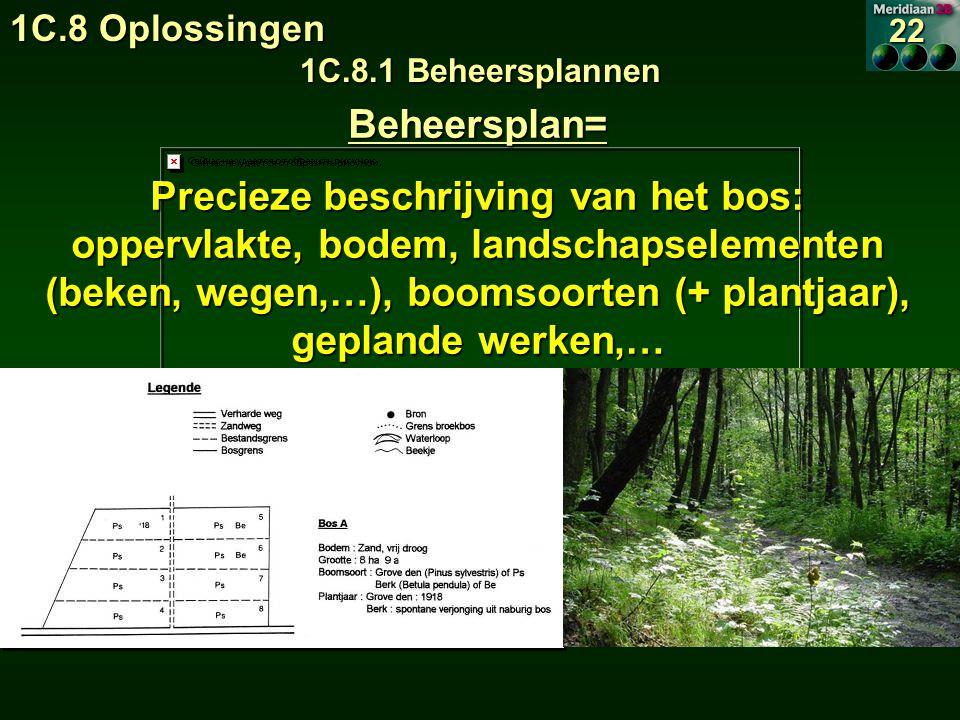 Beheersplan= Precieze beschrijving van het bos: oppervlakte, bodem, landschapselementen (beken, wegen,…), boomsoorten (+ plantjaar), geplande werken,… 1C.8 Oplossingen 1C.8.1 Beheersplannen 22