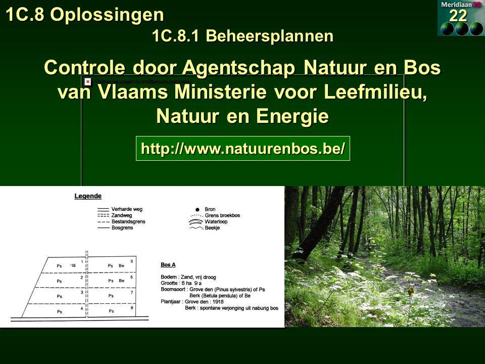 1C.8 Oplossingen 1C.8.1 Beheersplannen 22 Controle door Agentschap Natuur en Bos van Vlaams Ministerie voor Leefmilieu, Natuur en Energie http://www.natuurenbos.be/