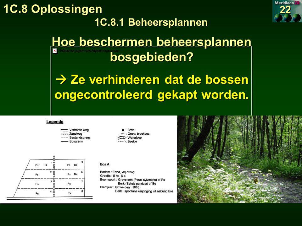 1C.8 Oplossingen 1C.8.1 Beheersplannen 22 Hoe beschermen beheersplannen bosgebieden.