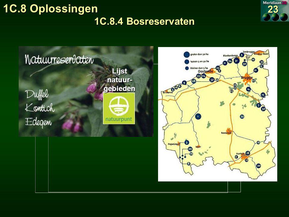 1C.8 Oplossingen 1C.8.4 Bosreservaten 23 Lijst natuur- gebieden Lijst natuur- gebieden
