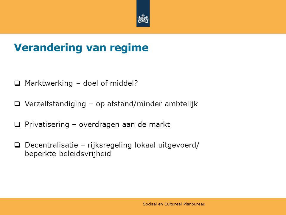 Verandering van regime  Marktwerking – doel of middel.