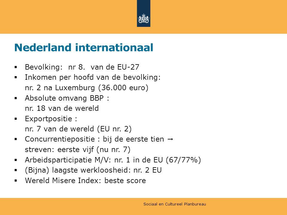 Nederland internationaal  Bevolking: nr 8. van de EU-27  Inkomen per hoofd van de bevolking: nr.