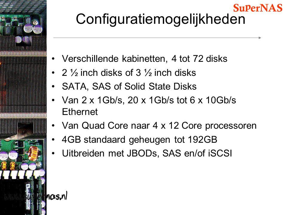 Configuratiemogelijkheden Verschillende kabinetten, 4 tot 72 disks 2 ½ inch disks of 3 ½ inch disks SATA, SAS of Solid State Disks Van 2 x 1Gb/s, 20 x