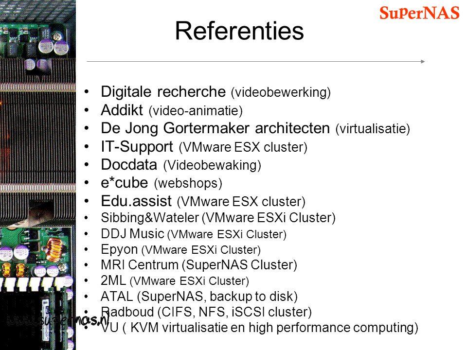 Referenties Digitale recherche (videobewerking) Addikt (video-animatie) De Jong Gortermaker architecten (virtualisatie) IT-Support (VMware ESX cluster