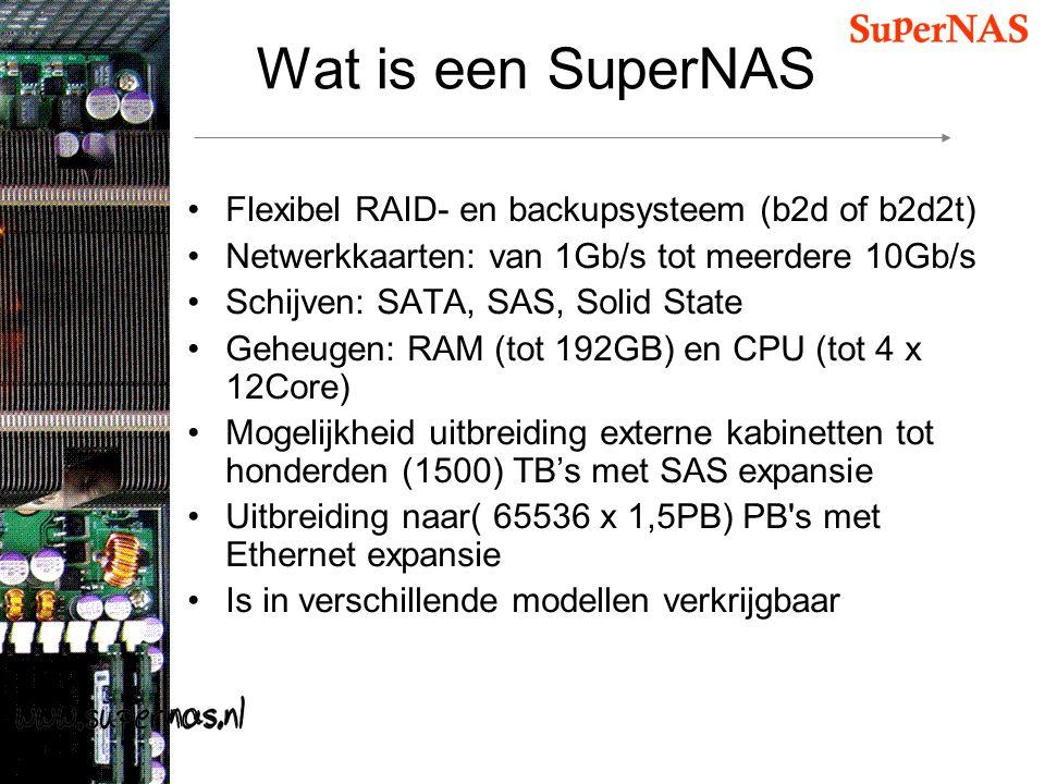 Wat is een SuperNAS Flexibel RAID- en backupsysteem (b2d of b2d2t) Netwerkkaarten: van 1Gb/s tot meerdere 10Gb/s Schijven: SATA, SAS, Solid State Gehe