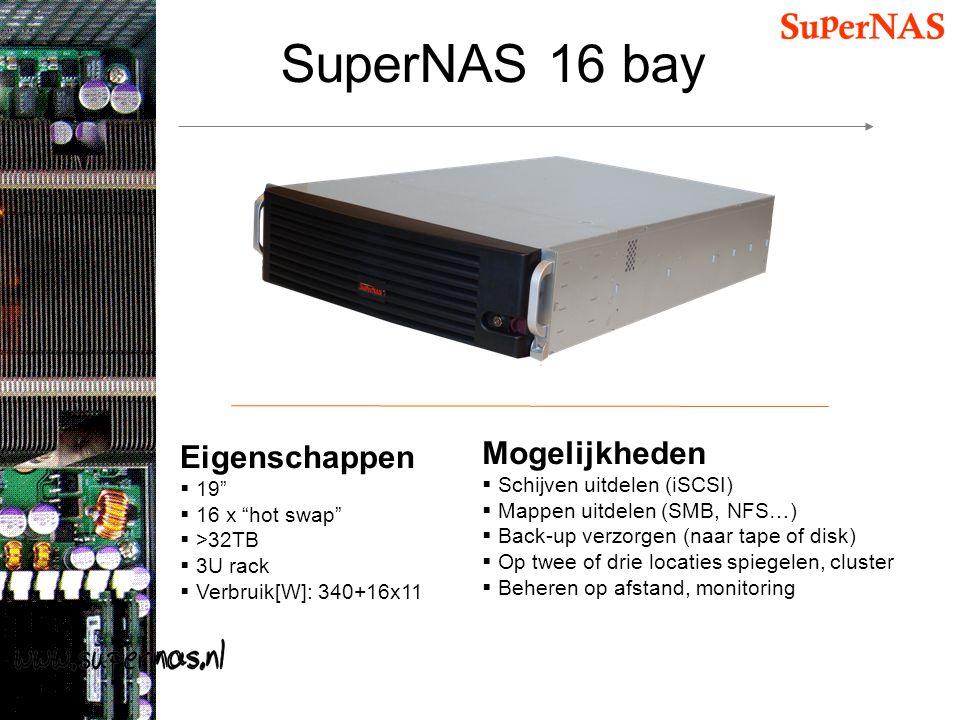 """SuperNAS 16 bay Eigenschappen  19""""  16 x """"hot swap""""  >32TB  3U rack  Verbruik[W]: 340+16x11 Mogelijkheden  Schijven uitdelen (iSCSI)  Mappen ui"""