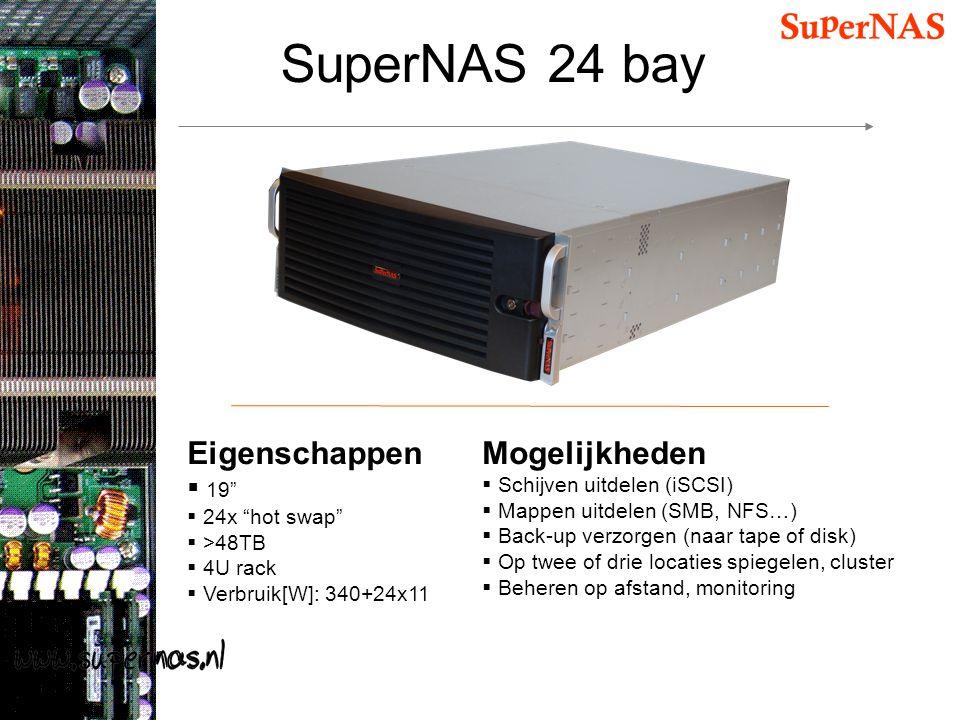 """SuperNAS 24 bay Eigenschappen  19""""  24x """"hot swap""""  >48TB  4U rack  Verbruik[W]: 340+24x11 Mogelijkheden  Schijven uitdelen (iSCSI)  Mappen uit"""