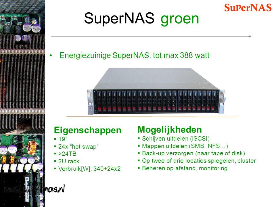 """SuperNAS groen Energiezuinige SuperNAS: tot max 388 watt Eigenschappen  19""""  24x """"hot swap""""  >24TB  2U rack  Verbruik[W]: 340+24x2 Mogelijkheden"""