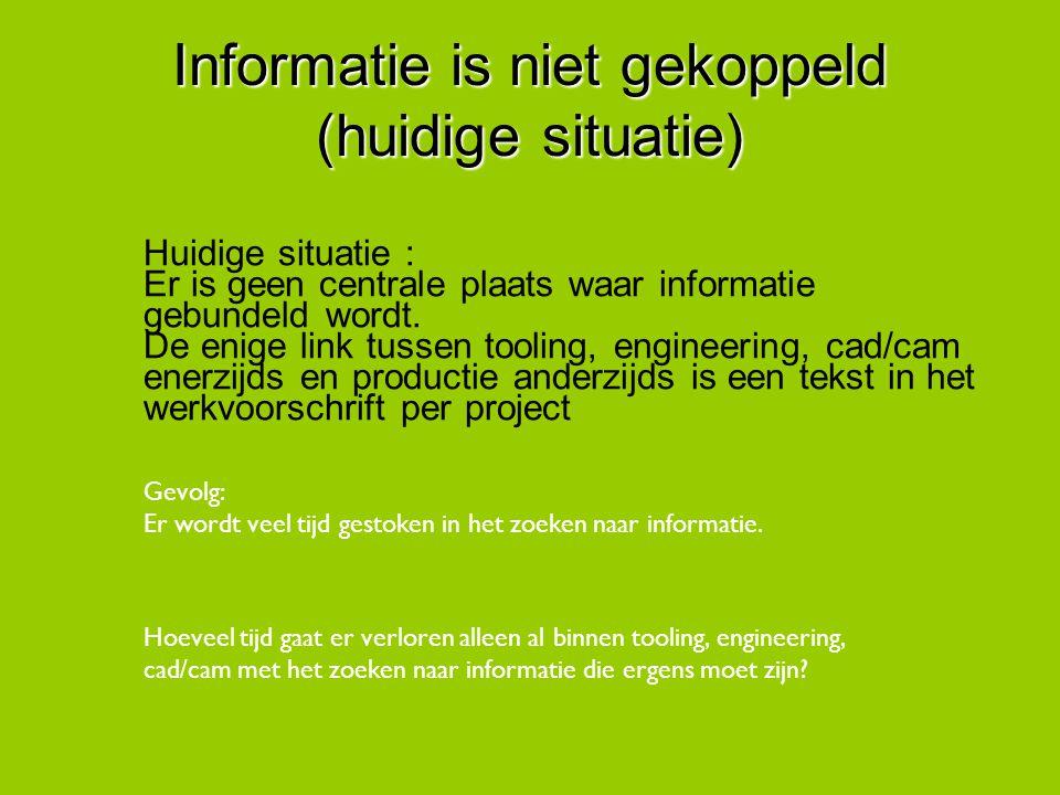 Informatie is niet gekoppeld (huidige situatie) Huidige situatie : Er is geen centrale plaats waar informatie gebundeld wordt. De enige link tussen to