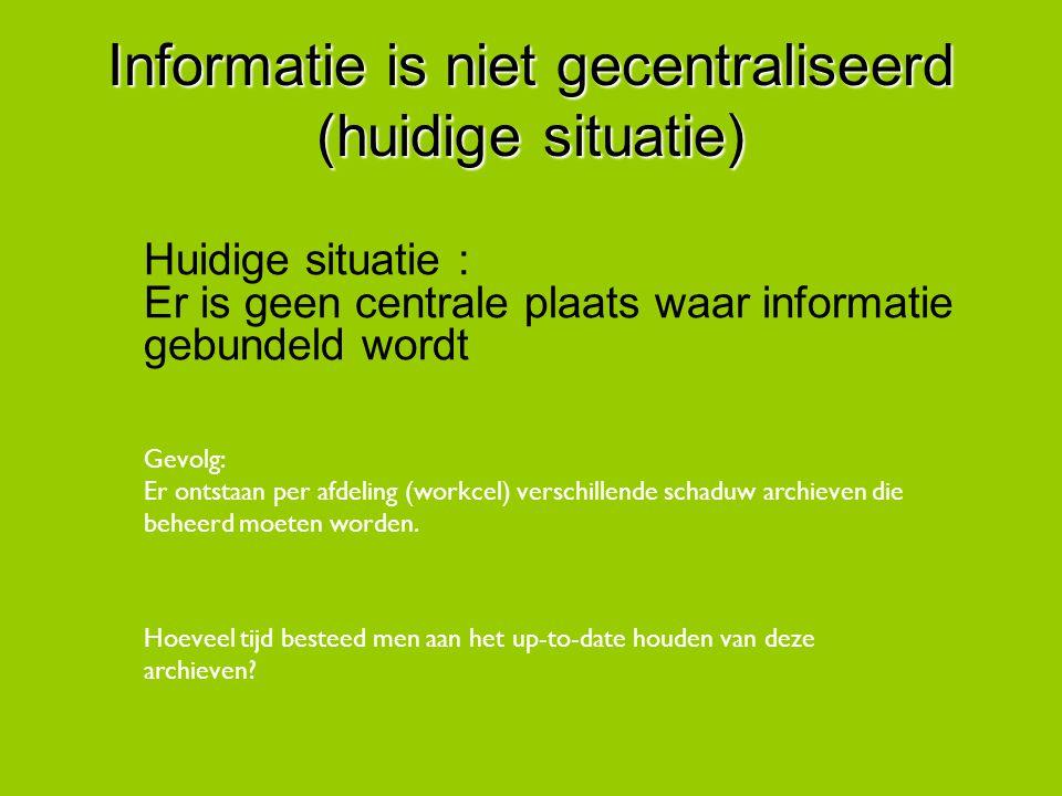 Informatie is niet gecentraliseerd (huidige situatie) Huidige situatie : Er is geen centrale plaats waar informatie gebundeld wordt Gevolg: Er ontstaa
